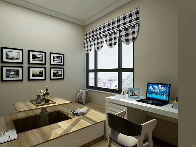书房则以榻榻米来作为一间小的茶话室,旁边的小书桌也是非常映衬,简约的挂画与窗帘相好相符。