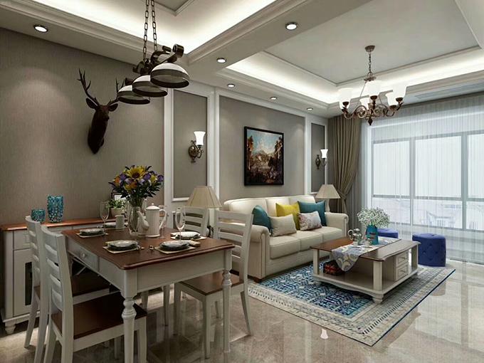 客厅与餐厅是一体式的空间,在做区域分隔时通过吊顶来进行划分,墙面采用灰咖色的壁纸,地面则是亮面的抛釉砖来增亮空间。