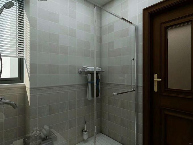 卫生间也以彩色的格子砖为装饰,半拉的百叶窗让光线照射进来,干湿分离一点也不显潮湿。