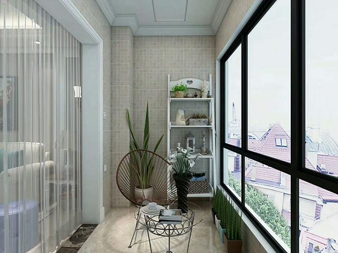 阳台装饰以封装来设计,不用担心会飘雨进来,在搭配上面也十分闲适,以绿植来装饰,显得更加清新。