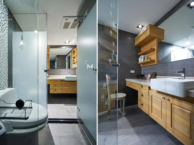 卫生间也不忘以木质家具来作为点缀,在时尚的氛围中再点缀一点乡村,给人一种新颖的感觉。