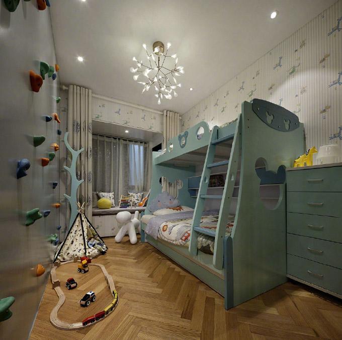 儿童房则一改其它空间的调调,一个充满童趣的房间,明亮的壁纸再设计一个攀岩,来激发孩子的兴趣。