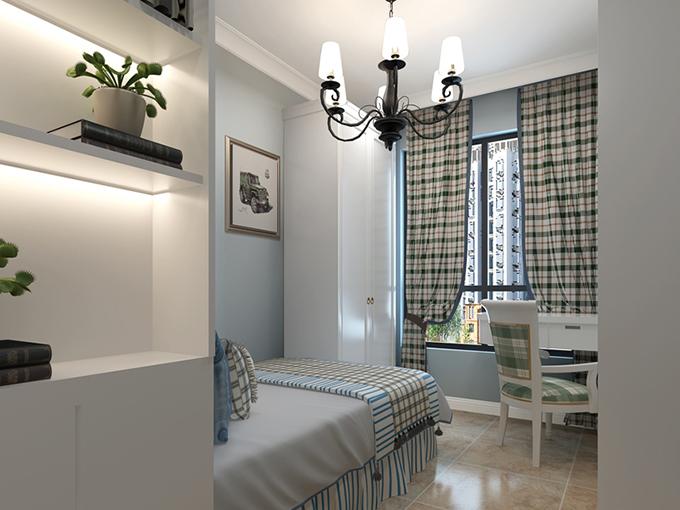另一间卧室边上以一个书柜来装饰,除了卧室以外还可以当作书房使用,功能齐全,光线明亮而又舒适,格子的窗帘与布料、椅子都互相呼应。