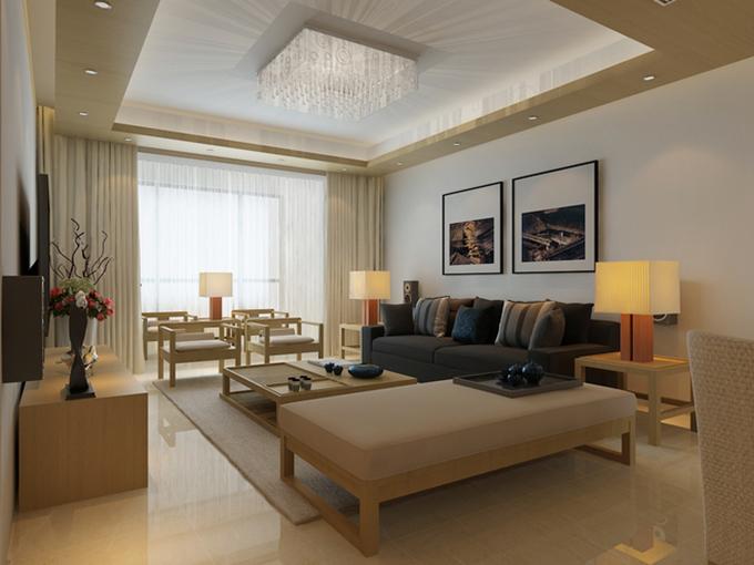 客厅整体以浅黄再配上大白色,简洁而又温馨,互相的色彩搭配十分巧妙,顶灯的设计提升了整个空间的档次。