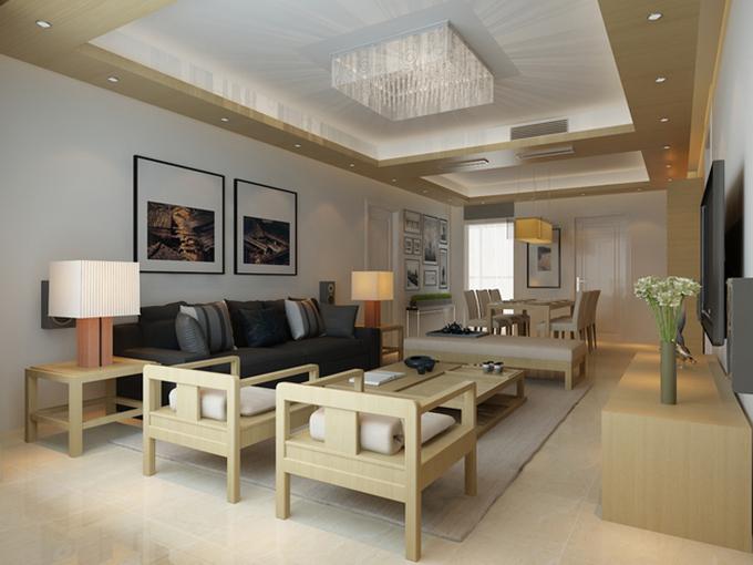 餐厅客厅一体式,以小小的案板来作为隔断。浅淡的黄色实木家具衬出浓重的日式特色,台灯及背景挂画都十分能和整体风格搭调。