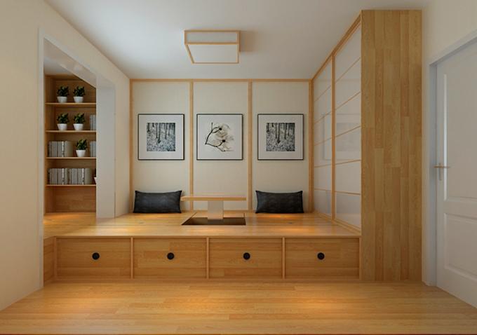 这个榻榻米房间收纳非常好,色彩的装饰也诠释到了极致,以隔层来作为装饰,也可以当作一个休息室,利用率比较高。