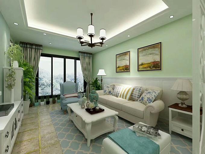 黑框加持的落地窗仿佛能俯瞰外面的风景,而沙发背景的两幅挂画又将画面带到了秋收的季节,地砖以金色的点缀看起来也十分舒适。