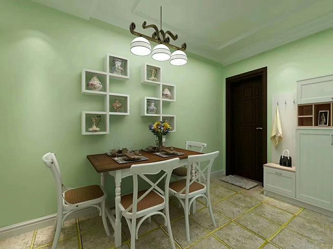 餐厅碗状的吊灯十分新颖,墙面以方格形状的隔层装饰,放上不同的瓷瓶,看起来又给人一种文艺的感觉。