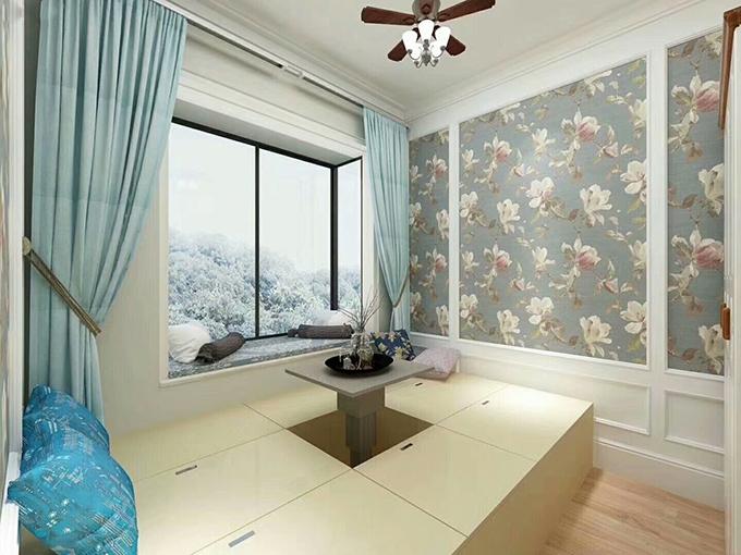 简洁的榻榻米房间可以作为一个休息室或者茶室,依然打造了一个黑色窗格的飘窗,与客厅卧室形成了映衬,墙面经典设计又给人自然的气息。