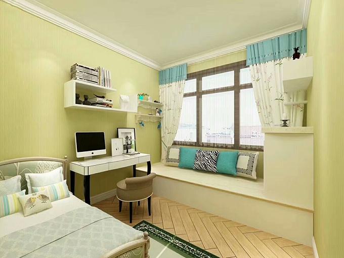 儿童房以隔层的装饰来当作书柜,又打造了一个专属的书桌,窗台的装饰也非常的休闲,整体色调十分和谐。