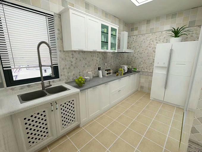 厨房也以浅淡的色彩为主,中间的马赛克瓷砖看十分的清新怀旧,整体摆放简洁,采光明亮。