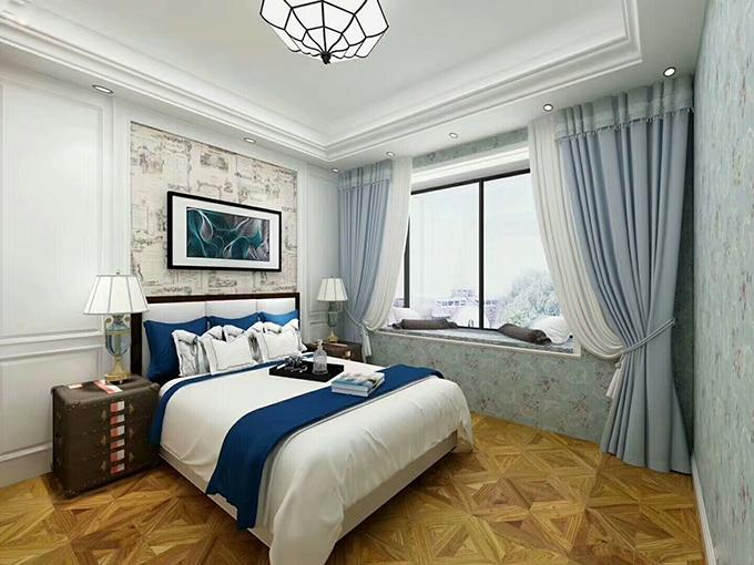 卧室的蓝色碎花壁纸及地面很有个性的木纹地板,还有黑色窗格打造的飘窗,整体融入到一起就有一种别样的感觉,非常大气质朴。