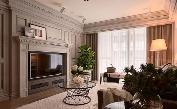 客厅基调以简约的白色配上低调的灰色为主,再以适当的黑色加以点缀,背景墙的设计古典而不失高雅,整体时尚又大气。