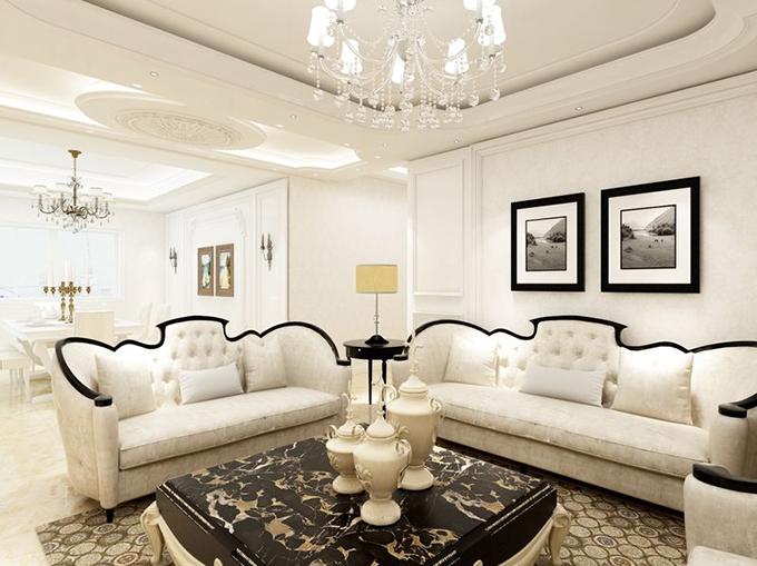 叠层图案吊灯配置欧式风格水晶灯突显空间高贵,边框图案墙壁配上背白相册点亮风格气氛,美式风格家具点缀空间淡雅。