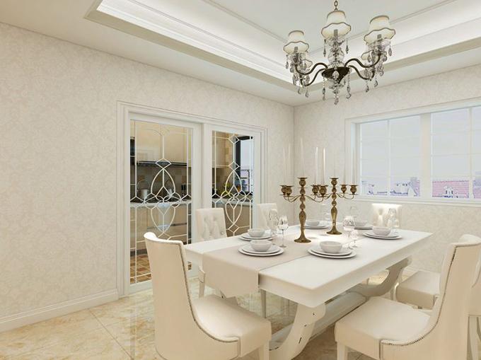 提高吊顶模式配置古典水晶灯体现空间淡雅,浅色花纹墙壁配置环纹地面塑造优雅空间,欧式风格白色长方餐桌营造浪漫空间。