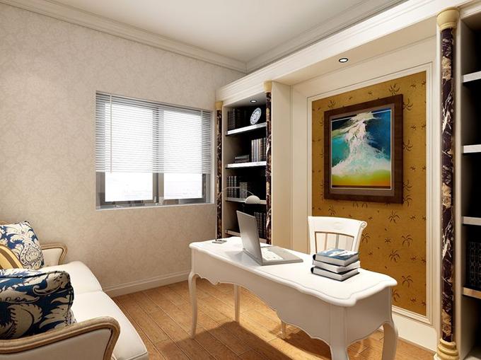 浅色花纹壁纸配置开放式隔板柜,塑造空间宁静的空间,壁柜中镶嵌了棕色壁纸对应地板,欧式简约风格家具点缀空间淡雅。