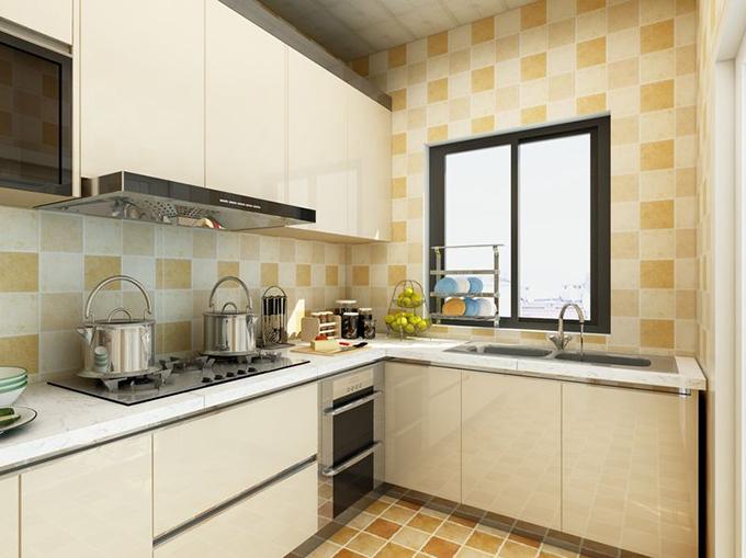 采用统一花式地砖壁砖点缀空间色彩,白色铝刚橱柜配置花纹大理石灶面清洁容易,花纹天花板对应墙壁点亮空间色彩。