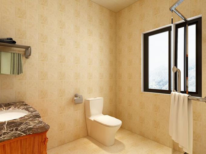 半圆玻璃门分隔干湿地区,黄色环纹瓷砖使用在地砖和壁砖突出空间淡雅,刻雕花纹洗脸池点缀空间灵活性。