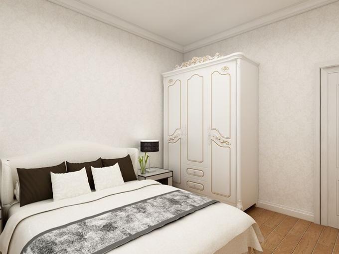 欧式风格刻雕纹双开门柜子衬托环纹墙面营造淡雅空间,简约分隔床配置白色床上用品点缀空间淡雅,木制地板点亮空间色彩。