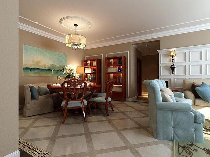 两组红木柜布置在餐厅点缀出书房优雅,半圆形沙发配置红木圆桌椅,呈现出空间里舒适,最主要在于空间的实用。
