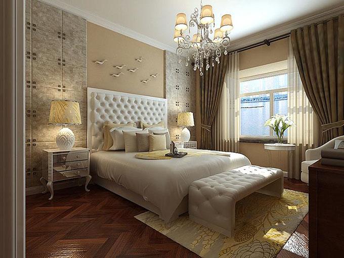 按照主人的喜爱使用白色的床,采用浅色配置花纹图案点缀了空间优雅舒适,浅色简朴的窗帘布遮盖住阳光的照射,激活了生活上气氛。