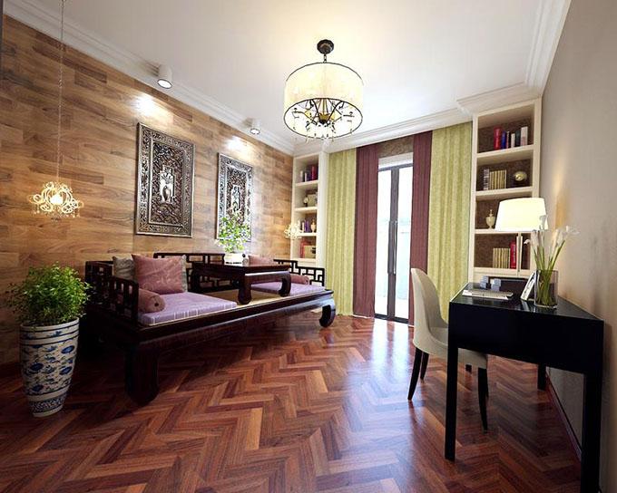 将现代简约风格中里添加了中式的气氛,古典床榻配现代简约方形书桌点缀书房雅致的空间,墙角镶嵌壁柜添加书房收纳。