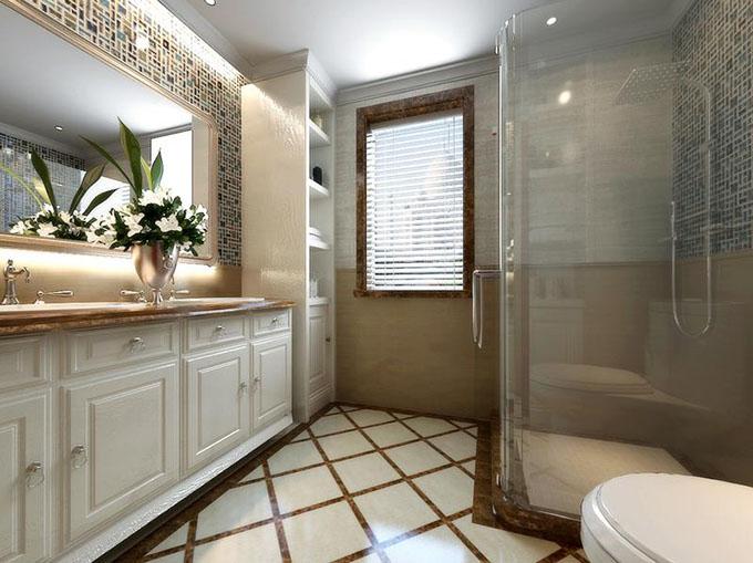 一面墙中贴制了马赛克瓷砖,重点突出了欧洲国家风俗,墙面镶嵌方格壁柜与浴室柜相撞提点了卫生间的收纳,玻璃门隔离浴室间点化了现在干湿分离。